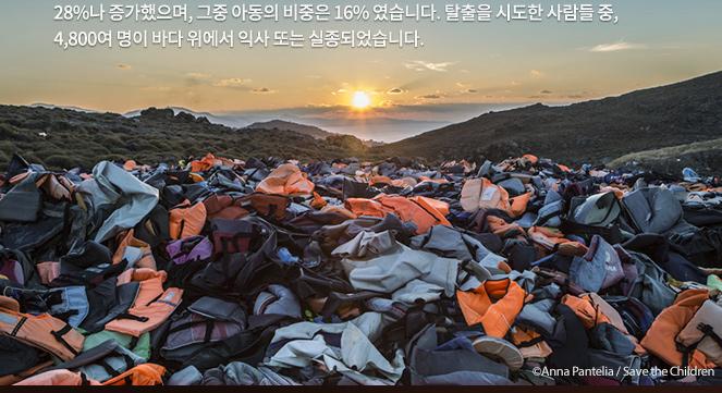 탈출을 시도한 사람들 중, 4,800여 명이 바다 위에서 익사 또는 실종되었습니다. ⓒAnna Pantelia/Save the Children