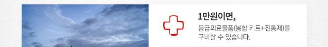1만원이면, 응급의료물품(봉합 키트+진통제)를 구비할 수 있습니다.