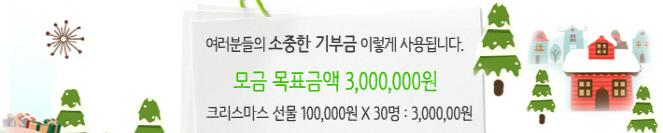 여러분들의 소중한 기부금 이렇게 사용됩니다. 모금 목표금액 3,000,000원 크리스마스 선물 100,000원 X 30명 : 3,000,000원